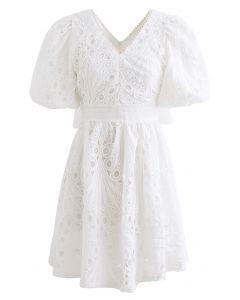 Scallop Crochet Pearl V-Neck Dress