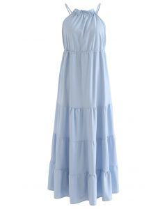 Open Back Panelled Cotton Maxi Dress