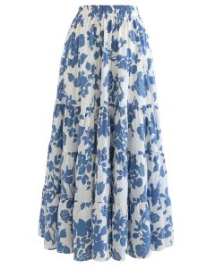 Flowery Sketch Frilling Maxi Skirt in Blue