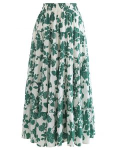 Flowery Sketch Frilling Maxi Skirt in Green