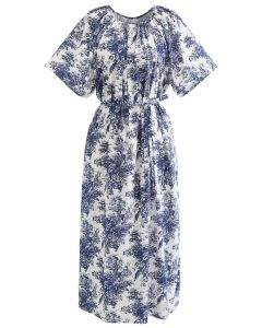 Flare Sleeve Floral Print Dolly Dress in Navy