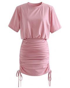 Pad Shoulder Crop Top and Drawstring Skirt Set in Pink