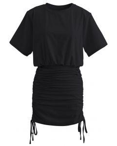 Pad Shoulder Crop Top and Drawstring Skirt Set in Black