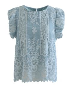 Embroidered Floral Short Sleeve Top in Blue