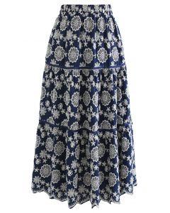 Embroidered Flower Scalloped Skirt in Navy