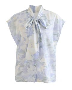 Watercolor Floral Tie Neck Buttoned Top in Blue