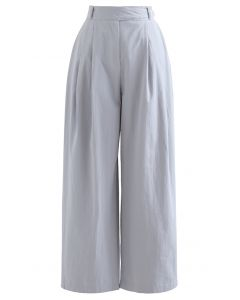 Belted Waist Straight Leg Cotton Pants in Blue