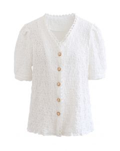 Embossed V-Neck Button Front Top in White