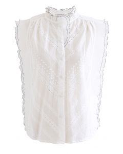 Contrast Edge Button Down Sleeveless Top in White