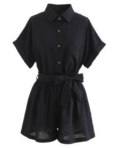 Button Down Shirt and Bowknot Shorts Set in Black