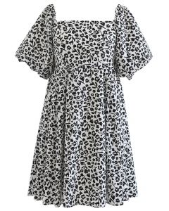 Square Neck Bubble Sleeve Floret Shirred Dolly Dress in White