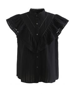 Ruffle Trim Button Front Sleeveless Top in Black