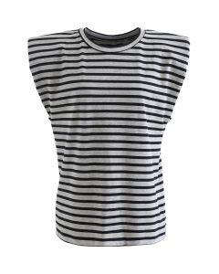 Stripe Pad Shoulder Sleeveless Top in Grey