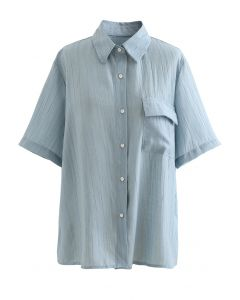 Patched Pocket Textured Shirt in Dusty Blue