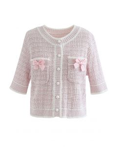 Bowknot Decorated Button Down Knit Cardigan in Light Pink