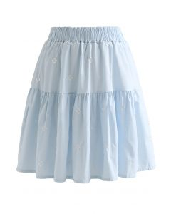 Clover Embroidered Frilling Mini Skirt in Baby Blue