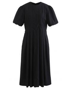 Puff Short Sleeve Pleated Midi Dress in Black