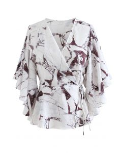 Butterfly Flare Sleeve Printed Wrap Top in Wine