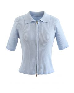 Double Zippers Short Sleeve Rib Knit Cardigan in Dusty Blue