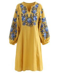 Boho Ethnic Floral Embroidered V-Neck Dress