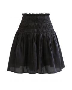 High Waist Shirred Shimmer Flared Shorts in Black
