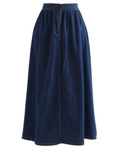 Elastic Back Waist A-Line Denim Skirt in Navy