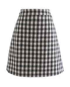 Check Print Wool-Blend Skirt