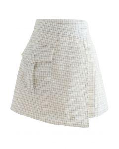 Check Print Fringed Mini Skirt in Ivory