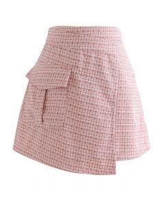 Check Print Fringed Mini Skirt in Pink