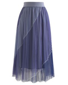 Double-Layered Color Block Mesh Tulle Midi Skirt in Dusty Blue