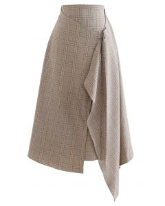 Flap Front Check Print Asymmetric Skirt