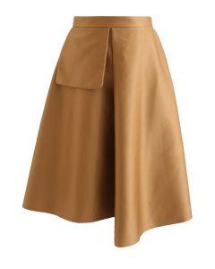Fake Pocket Decorated Folded Skirt