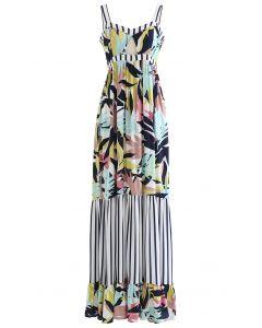 Leaf and Stripe Print Maxi Cami Dress
