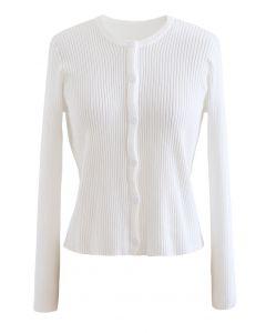 Button Down White Knit Cardigan