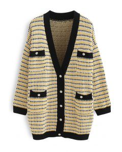 Button Down Patched Pocket Knit Cardigan