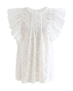 Pintuck Eyelet Embroidered Floral Sleeveless Top