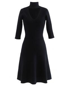 V-Shape Cutout Ribbed Knit Midi Dress in Black