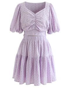 Sweetheart Floral Embroidery Puff-Sleeved Crop Top and Skirt Set in Lilac