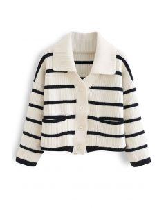 Contrast Stripe Button Down Crop Knit Cardigan