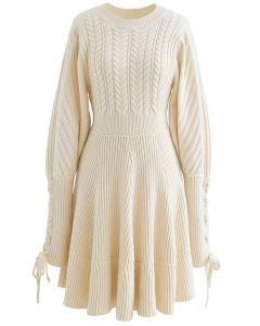 Lace Up Sleeves Braid Knit Dress in Cream
