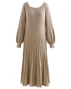 Ribbed Hem Soft Knit Dress in Tan