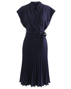 Pleated Sleeveless Wrapped Knit Dress in Navy