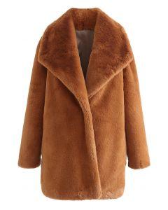 Snug Wide Lapel Faux Fur Coat in Caramel