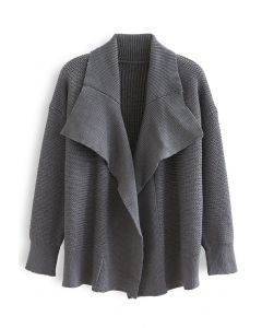 Grey Wide Lapel Open Front Chunky Knit Cardigan