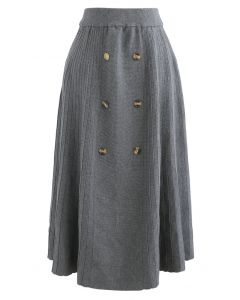 Button Front A-Line Knit Midi Skirt in Grey