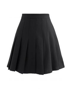 High Waist Pleated Mini Skirt in Black