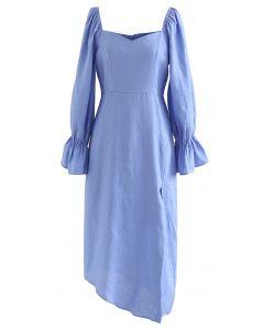 Sweetheart Neck Asymmetric Split Dress in Blue