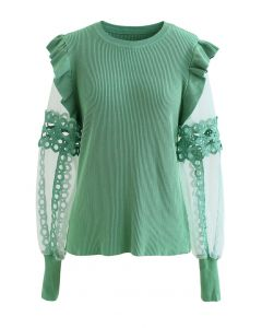 Lace-Adorned Mesh Sleeve Knit Top in Green