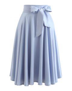 Flare Hem Bowknot Waist Midi Skirt in Blue