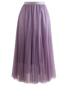 My Secret Garden Tulle Maxi Skirt in Glitter Lilac